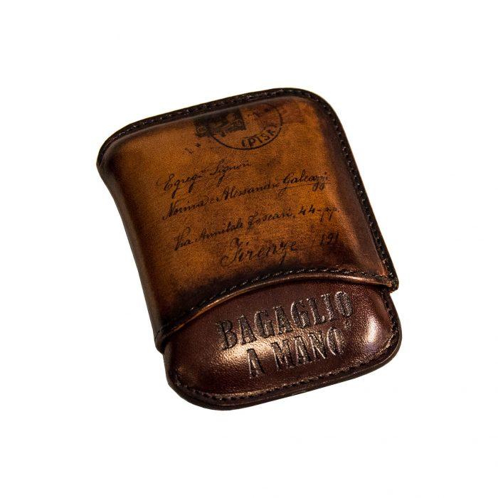 porta ammezzati pelle con cartolina di artiglieria fiorentina