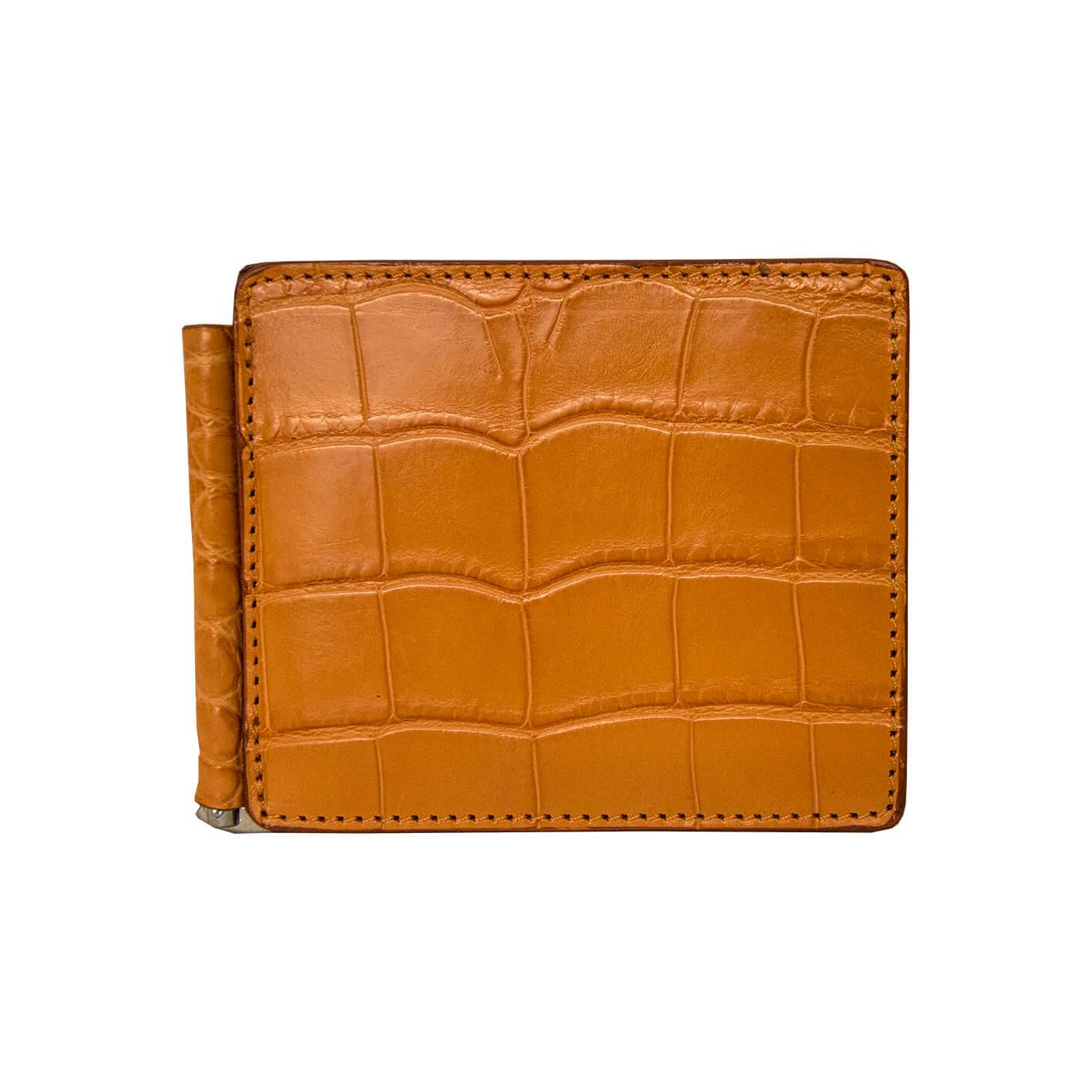 portafoglio uomo coccodrillo arancione -portadollari