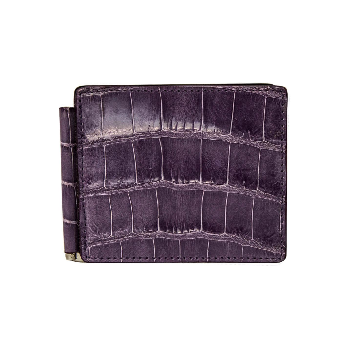 portafoglio uomo coccodrillo viola -portadollari