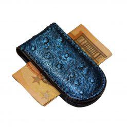 ferma banconote blu stampato peacock