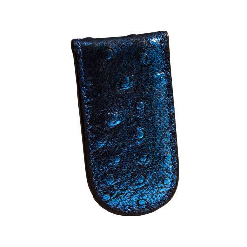 fermasoldi magnetico pelle blu stampa peacock
