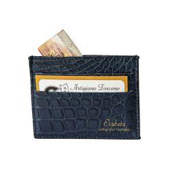 Porta Carte di Credito in Coccodrillo Blu
