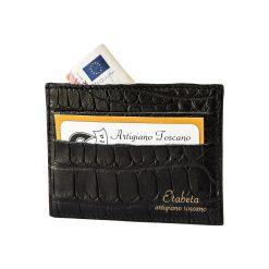 Porta Carte di Credito in Coccodrillo Nero