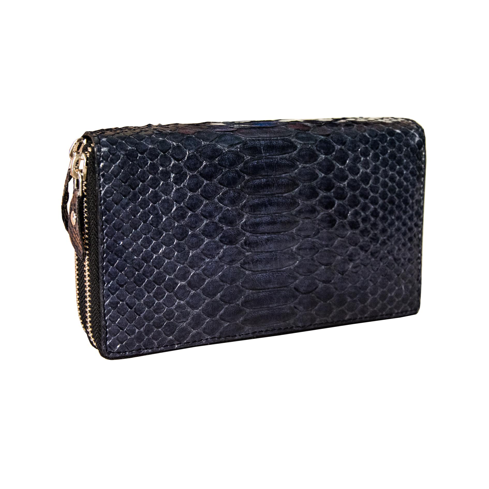 560e4688a1 Portafoglio Donna Grande Doppia Zip in Pelle di Pitone Certificata Blu