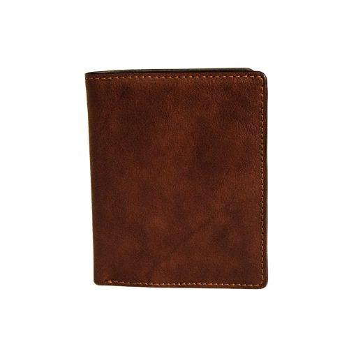 portafoglio uomo verticale con portamonete e fermacarte Marrone vintage
