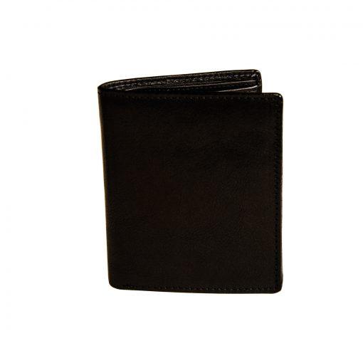 portafoglio uomo verticale con portamonete e fermacarte Nero