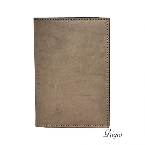 porta passaporto in vera pelle personalizzabile grigio