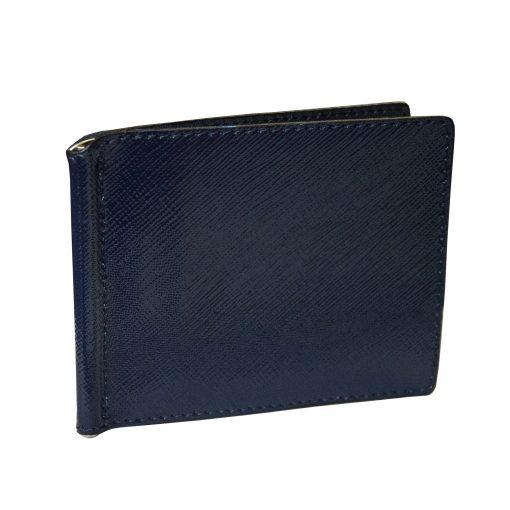 Portafoglio Sottile con Fermasoldi e Porta Carte in Vera Pelle - Portadollari Blu Elettrico