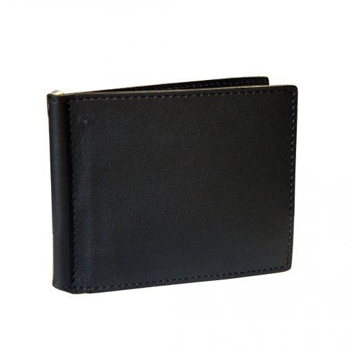 Portafoglio Sottile con Fermasoldi e Porta Carte in Vera Pelle - Portadollari Nero Liscio