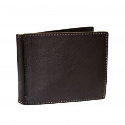 Portafoglio Sottile con Fermasoldi e Porta Carte in Vera Pelle - Portadollari Testa di Moro