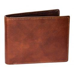 portafoglio uomo orizzontale marrone tamponato a mano