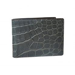 portafoglio uomo coccodrillo grigio senza portamonete