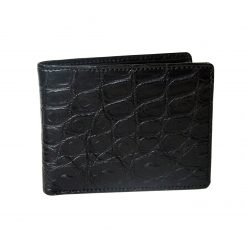 portafoglio uomo in pelle di coccodrillo nero con portamonete