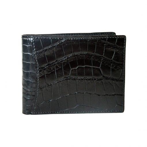 portafoglio uomo in pelle di coccodrillo nero senza portamonete con tasche esterne Nero