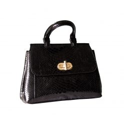 Borsa Donna Luxury in Vero Pitone Nero Lucido