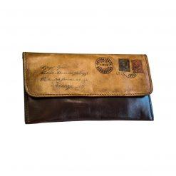 MONTALCINO Porta Tabacco con Antica Cartolina in Pelle Conciata al Vegetale