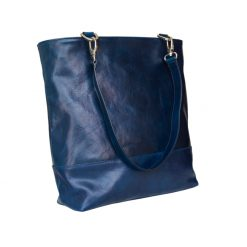 Borsa Pop Shopping Pelle Conciata al Vegetale blu