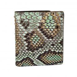 Portafoglio Piccolo Verticale con portamonete in Vero Pitone Moluro dipinto con sfumature Verde e Marrone_5