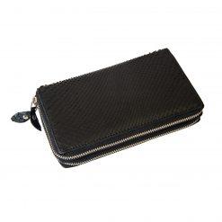 portafoglio donna doppia zip in pitone nero