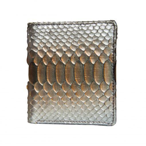 portafoglio piccolo pelle pitone argento con portamonete