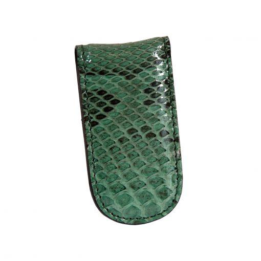 fermasoldi magnetico uomo pitone certificato cites verde bottiglia