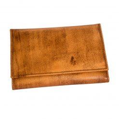 portafoglio donna clip pelle marrone tamponato