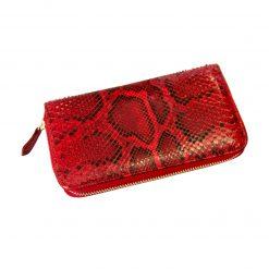 portafoglio donna grande in pelle di pitone rosso lucido